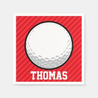 Golf Ball; Scarlet Red Stripes Paper Napkin