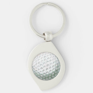 Golf Ball Silver-Colored Swirl Keychain