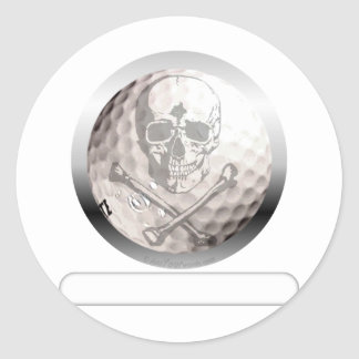 Golf Ball Skull and Crossbones Classic Round Sticker