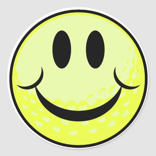 golf ball smile face classic round sticker
