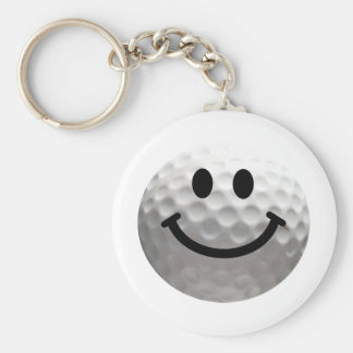 Golf ball smiley basic round button keychain