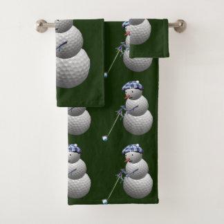 Golf Ball Snowman Christmas Bath Towel Set