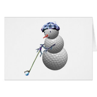 Golf Ball Snowman Christmas Card