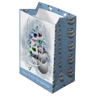 Golf Ball Snowman Christmas Medium Gift Bag