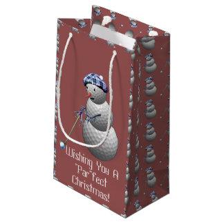 Golf Ball Snowman Christmas Small Gift Bag