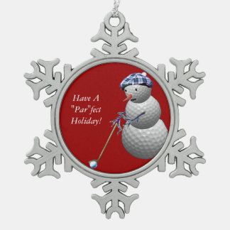 Golf Ball Snowman Pewter Snowflake Ornament