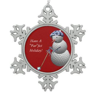 Golf Ball Snowman Pewter Snowflake Ornament