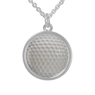 Golf Ball Sport Sterling Silver Necklace