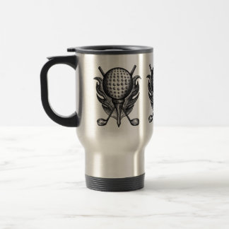 Golf Ball Tee Club Course Golfer Sports Grey Black Travel Mug