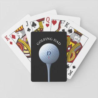 Golf Ball Tee Monogram Golfing Dad Playing Cards