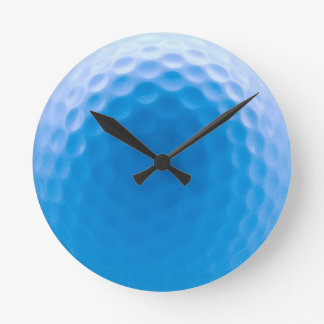 Golf Ball Texture Dimples Arctic Blue Round Clock