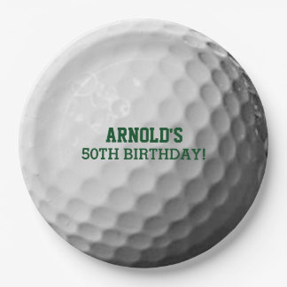 Golf Ball Texture Personalized 9 Inch Paper Plate