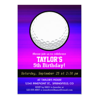 "Golf Ball; Vibrant Violet Blue and Magenta 5"" X 7"" Invitation Card"