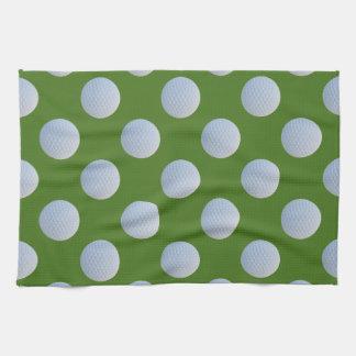 Golf Balls Pattern Grass Green Kitchen Towel
