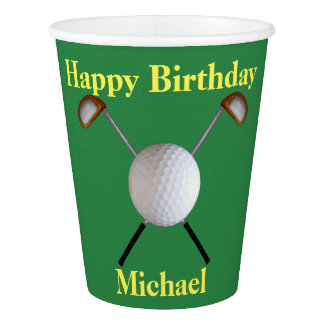 Golf Birthday Paper Cups (Customizable)