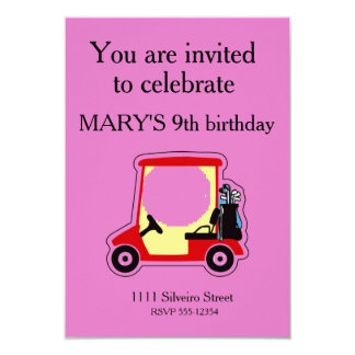 "Golf cart 3.5"" x 5"" invitation card"