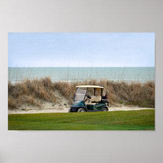Golf Cart at the Eighteenth Hole, Kiawah Island Poster