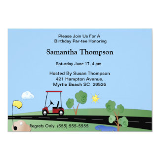 Golf Cart  Birthday Invitations