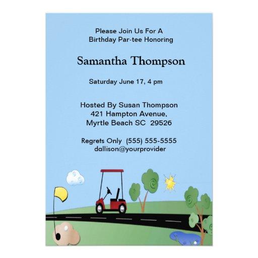 Golf Cart  Birthday Invitations