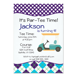 Golf Cart Birthday Party Invitation