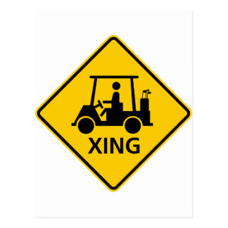 Golf Cart Crossing Highway Sign Postcard