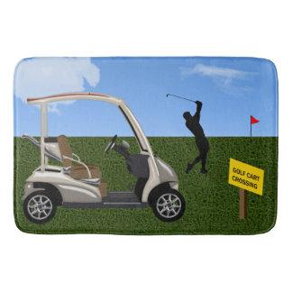 Golf Cart Crossing Sign on Fairway Bath Mat