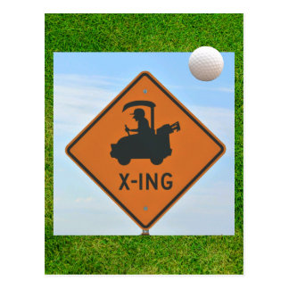 Golf Cart Crossing Sign Postcard