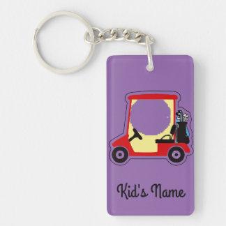 Golf cart Double-Sided rectangular acrylic keychain