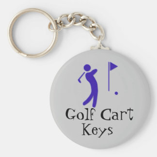 Golf Cart Keys Basic Round Button Keychain