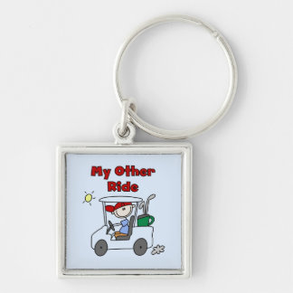 Golf Cart Other Ride Tshirts and Gifts Silver-Colored Square Keychain