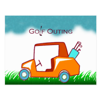 golf cart outing invite postcard