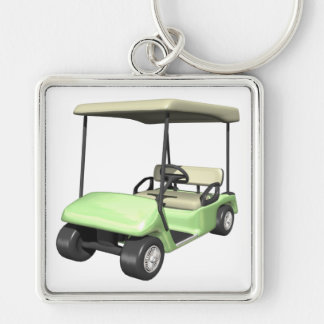 Golf Cart Silver-Colored Square Keychain