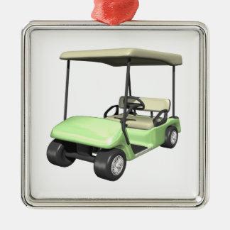 Golf Cart Silver-Colored Square Ornament