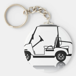 Golf Cart white Basic Round Button Keychain
