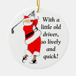 Golf Christmas Collectible Round Ceramic Ornament