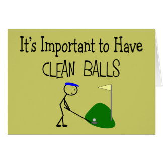 """Golf """"CLEAN BALLS""""  Golf Humour Gifts Greeting Card"""