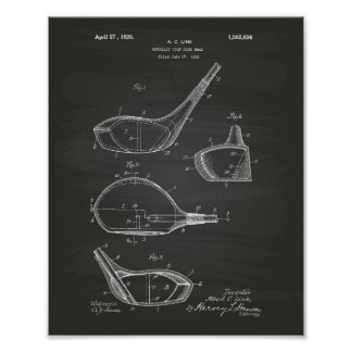 Golf Club 1926 Patent Art - Chalkboard Poster