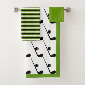 Golf club and ball black, green bathroom towel set