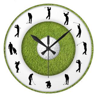 Golf Club Golfer Figure Grass Design Clock