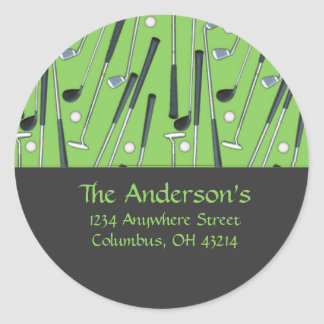 Golf Clubs Design 2 Address Labels/Stickers Classic Round Sticker