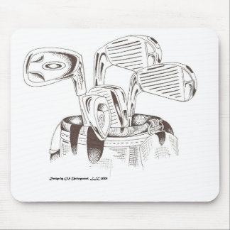 Golf Clubs in Black & White - Mouse Pad