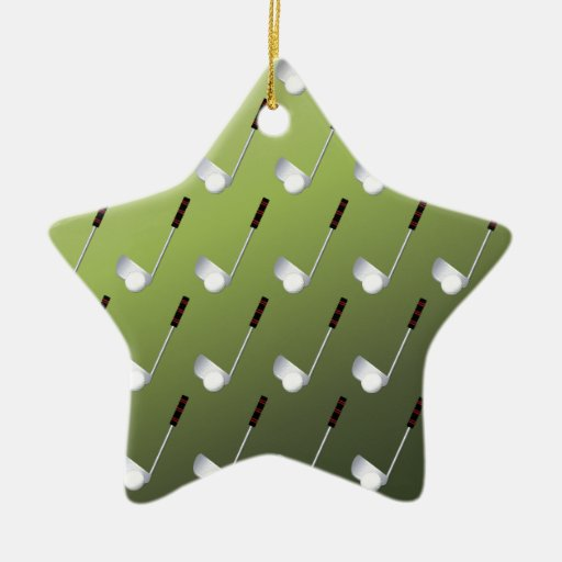 Golf Clubs on Green Christmas Ornaments