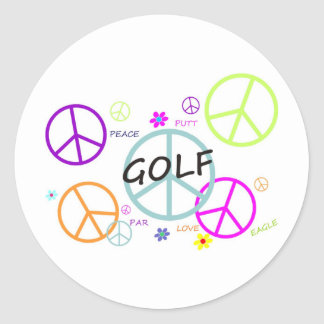 Golf Colored Peace Signs Classic Round Sticker