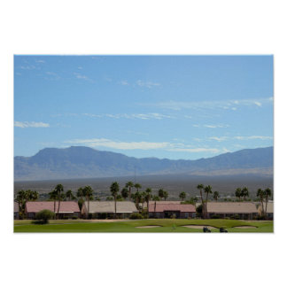 Golf Course by Mountains Poster