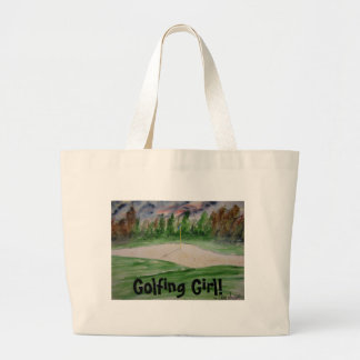 golf_course_large, Golfing Girl! Large Tote Bag