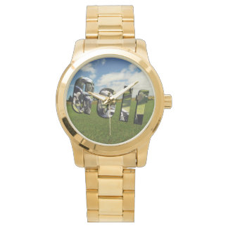 Golf Course Logo, Large Unisex Gold Watch