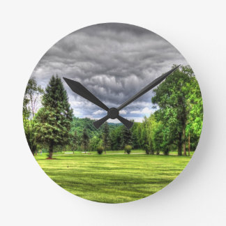 Golf Course Scene Round Clock