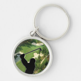 Golf Course Silver-Colored Round Keychain