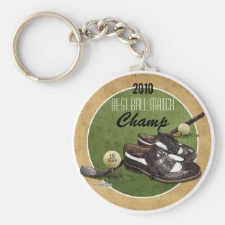 Golf course Tee Basic Round Button Keychain