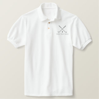 Golf crossed clubs - add your text - father's day embroidered shirt